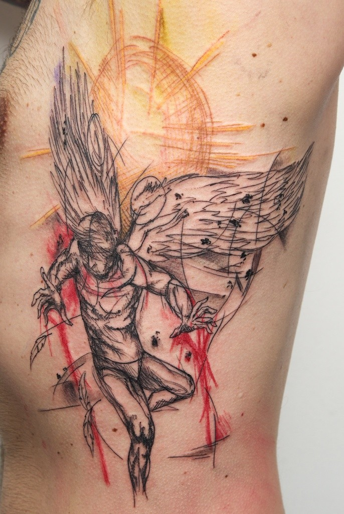 Abstract style colored side tattoo of flying Icarus with sun