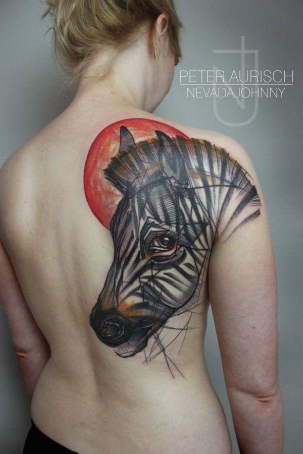 Abstract style massive colored sad zebra tattoo on shoulder