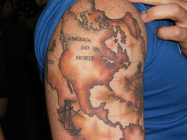 Accurate painted colored on shoulder tattoo of nautical map part