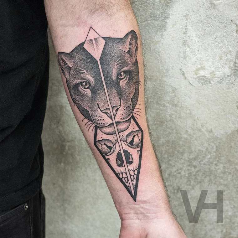 Accurate painted designed by Valentin Hirsch forearm tattoo of panther and human head