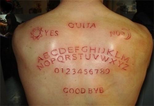 Alphabet and words skin scarification on back