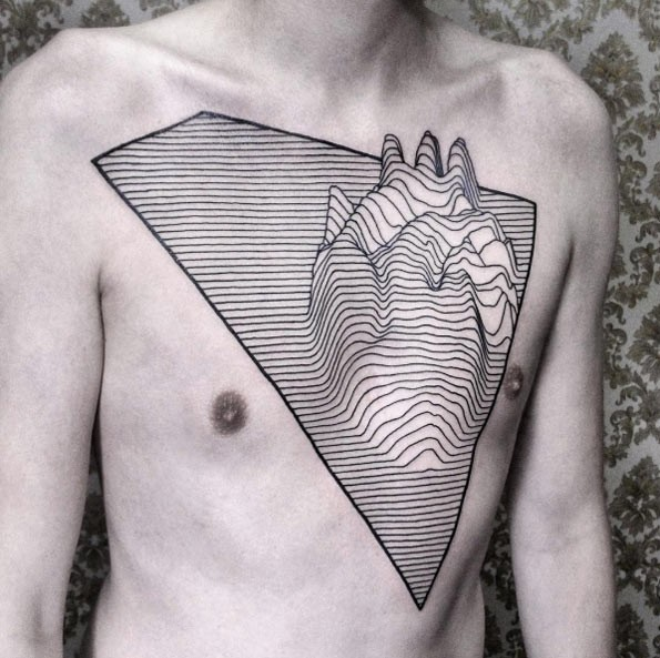 Amazing black ink linework style chest tattoo of human heart
