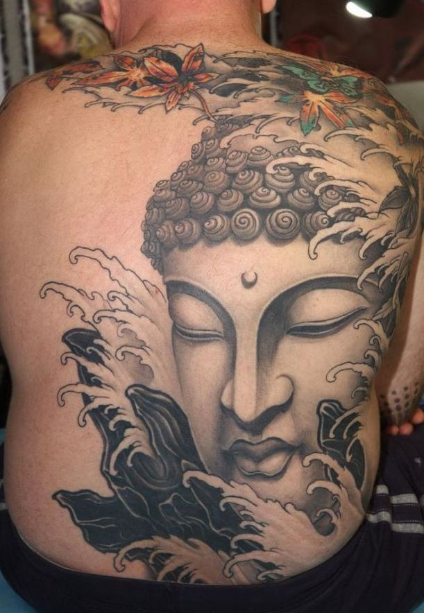 Amazing face buddha tattoo on whole back