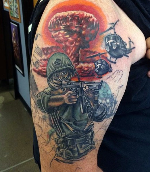 Amazing painted unfinished WW2 dedicated military tattoo on shoulder
