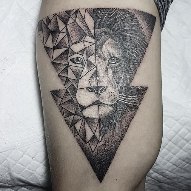 Arrow shaped black ink dot style tattoo of separated lion head