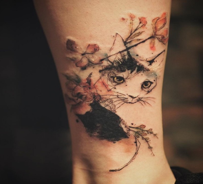 Asian style for girls tattoo of cat with flowers