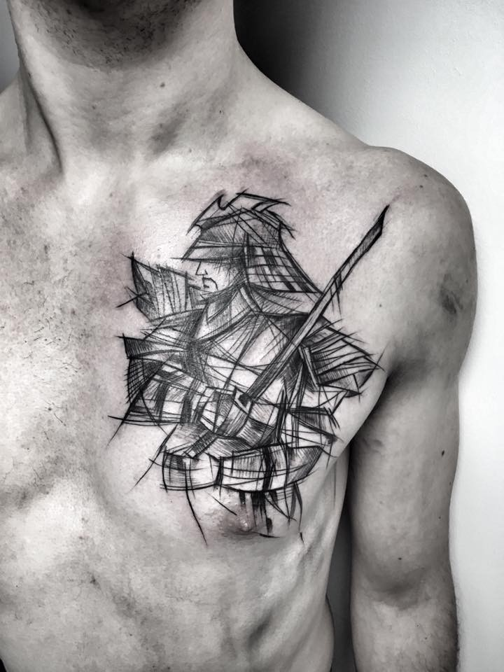 Asian traditional style painted by Inez Janiak chest tattoo of samurai warrior