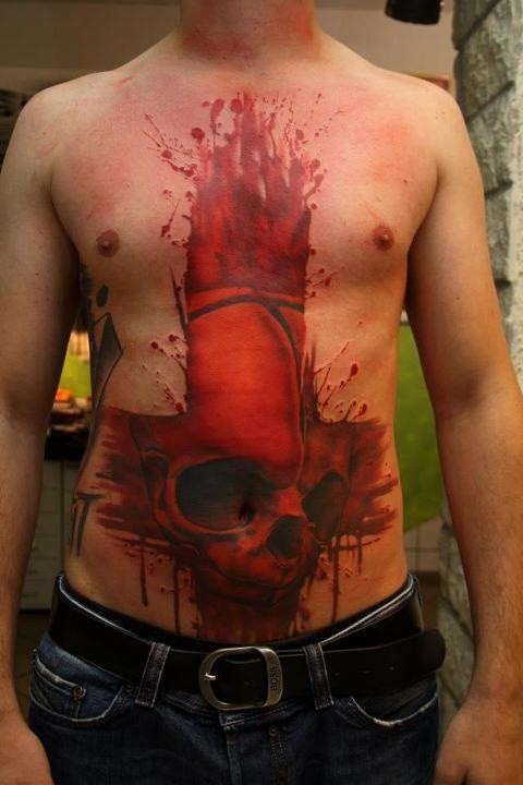 Awesome idea of skull tattoo on stomach