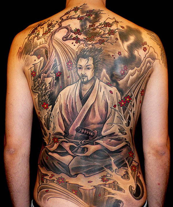 Awesome japanese samurai tattoo on whole back