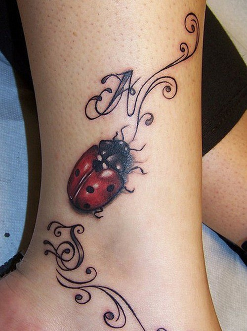 Awesome ladybug with initials tattoo on ankle