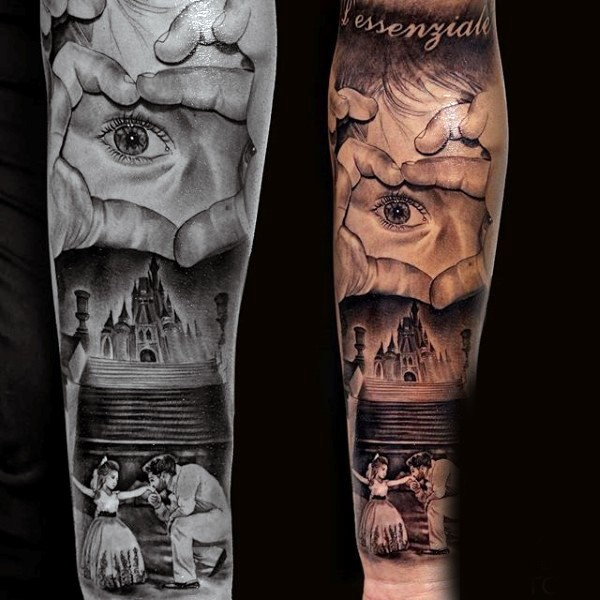 Awesome painted colored magical family with castle tattoo on sleeve