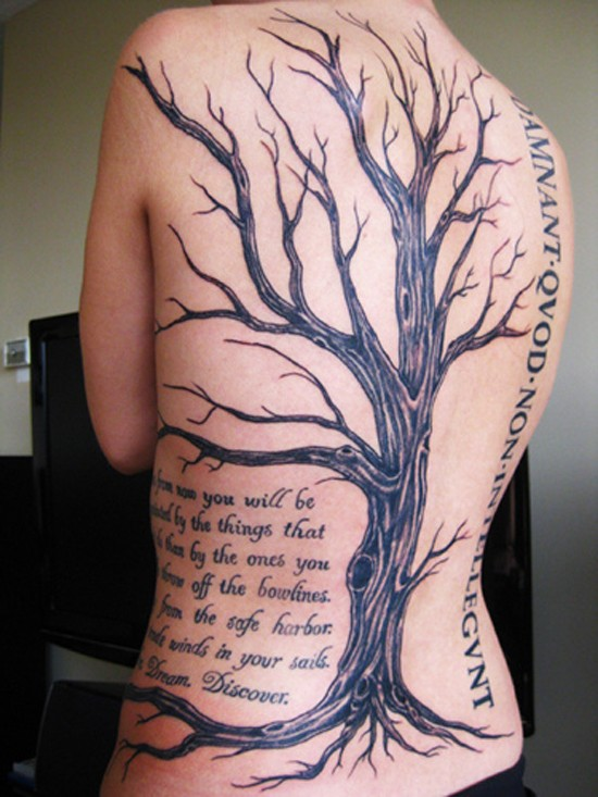 Awesome tree tattoo with quotes tattoo on whole back