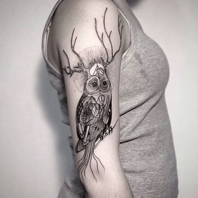 Beautiful looking colored shoulder tattoo of owl with deer horns