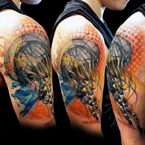 Big colorful 3D jellyfish tattoo on shoulder