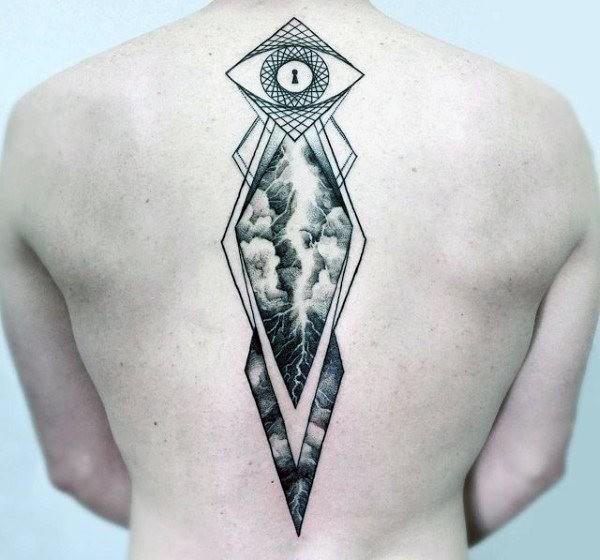 Big whole back tattoo of ornaments with keyhole