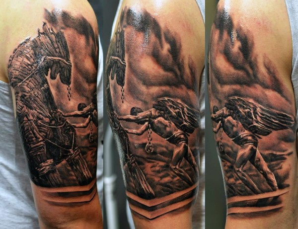 Black and gray style awesome looking shoulder tattoo of Icarus with wooden horse