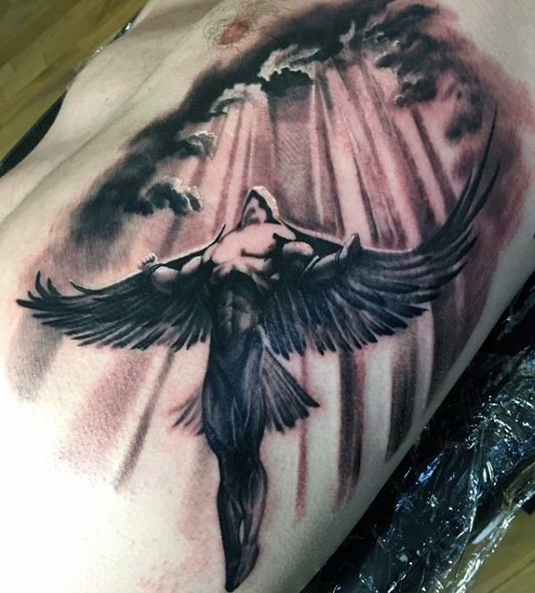 Black and gray style detailed side tattoo of Icarus with sun and clouds