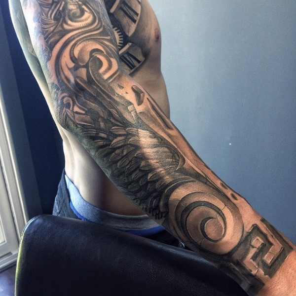 Black and gray style sleeve tattoo of ancient Gods wing