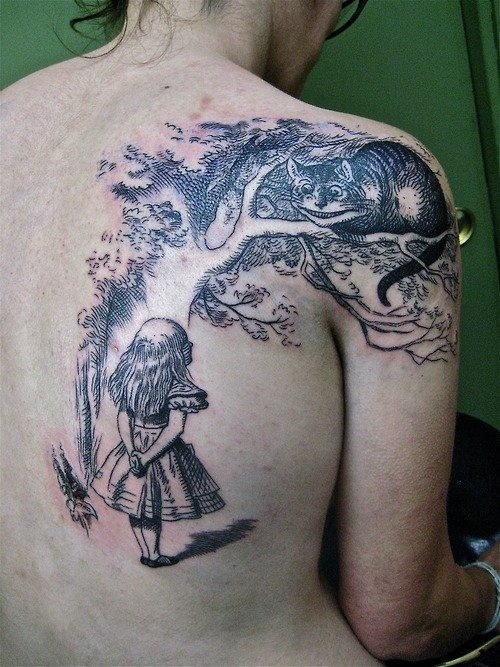 Black and white detailed fairy tale Alice in Wonderland tattoo on back