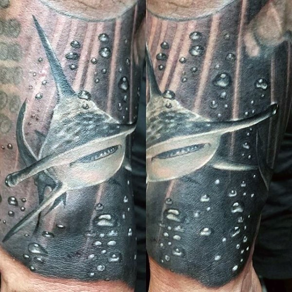 Black and white realistic looking forearm tattoo of hammerhead shark