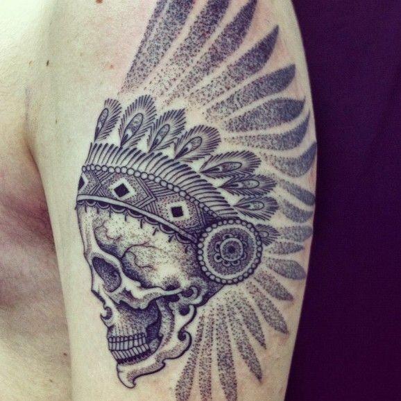 Black dotwork native american skull in headress tattoo on half sleeve