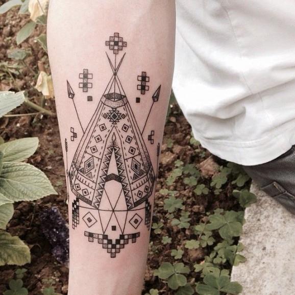Black gray native american housing forearm tattoo by Emrah Ozhan