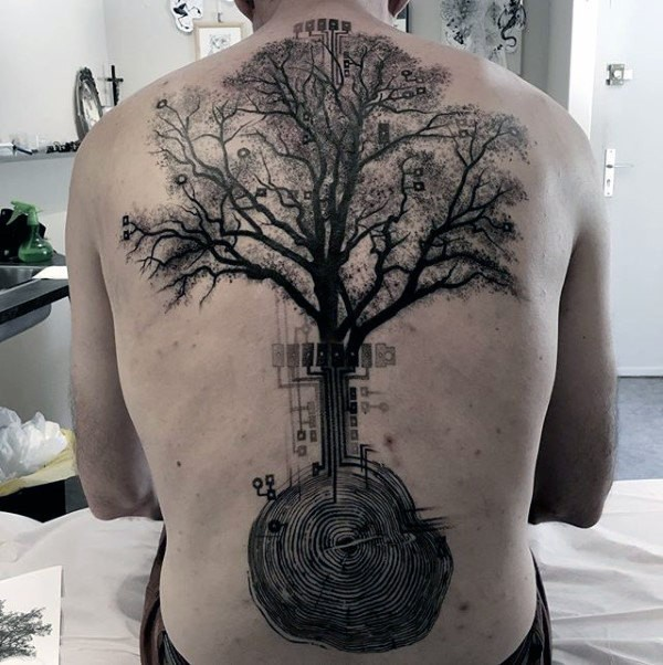 Black ink electronics like creative whole back tattoo of big tree