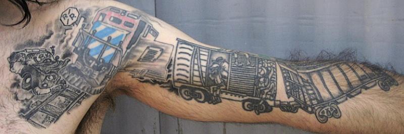 Black ink enormous half sleeve tattoo of train carts