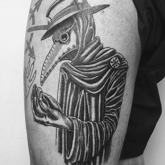 Black ink linework style thigh tattoo of plague doctor with humans heart