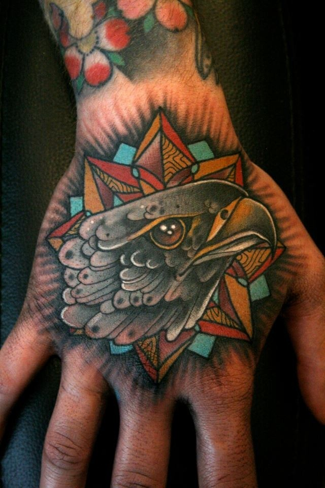 Black ink old shool style hand tattoo of eagle with stars