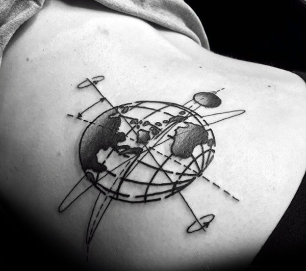 Black ink small scapular tattoo of planets