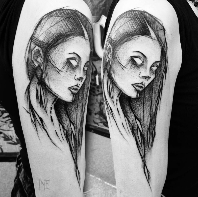 Blackwork style accurate painted by Inez Janiak shoulder tattoo of woman portrait