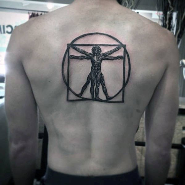 Blackwork style large upper back tattoo of Vitruvian man