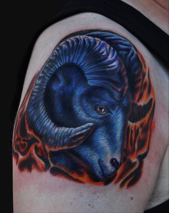 Blue aries ram tattoo design