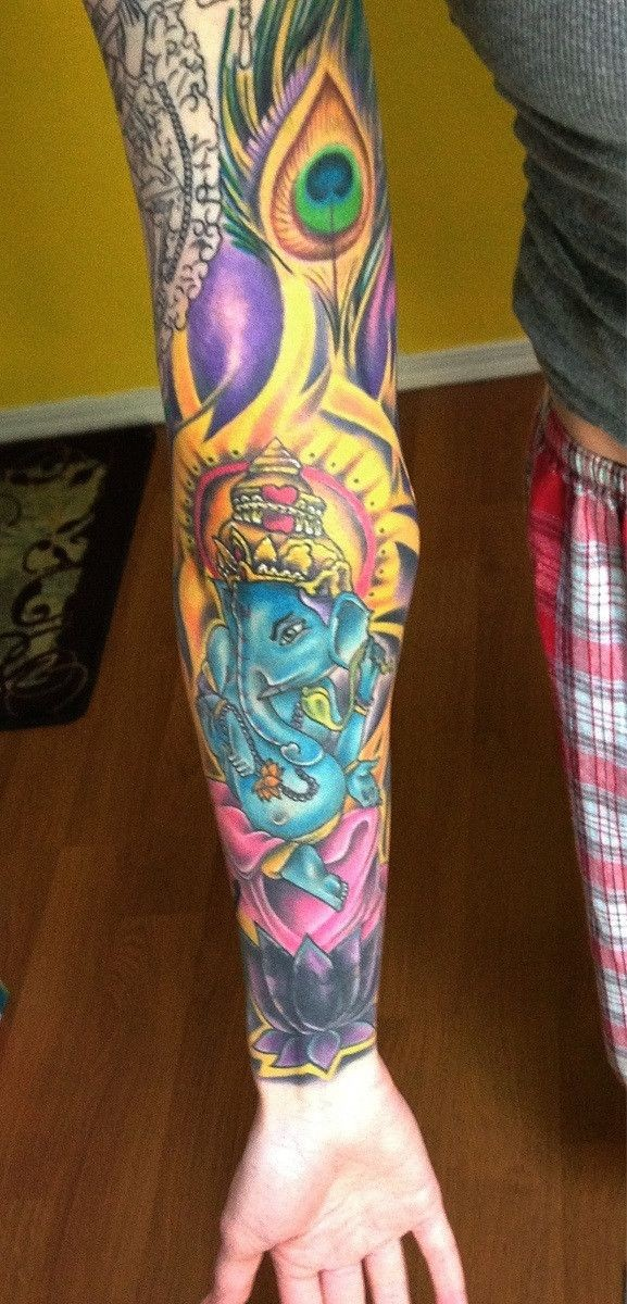 Blue indian ganesha full sleeve tattoo