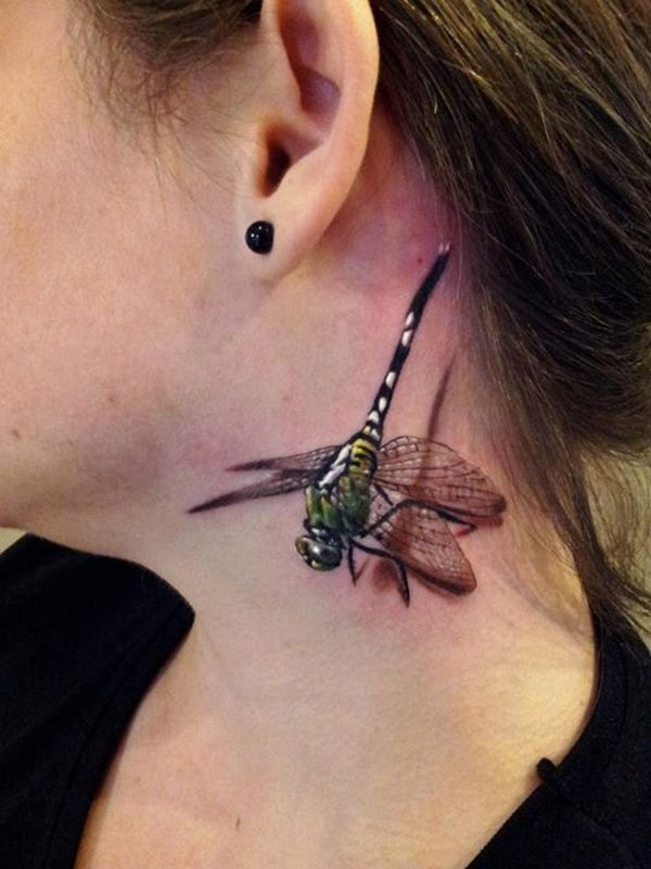 Breathtaking 3D realistic lifelike colored tremendous dragonfly tattoo sitting on neck