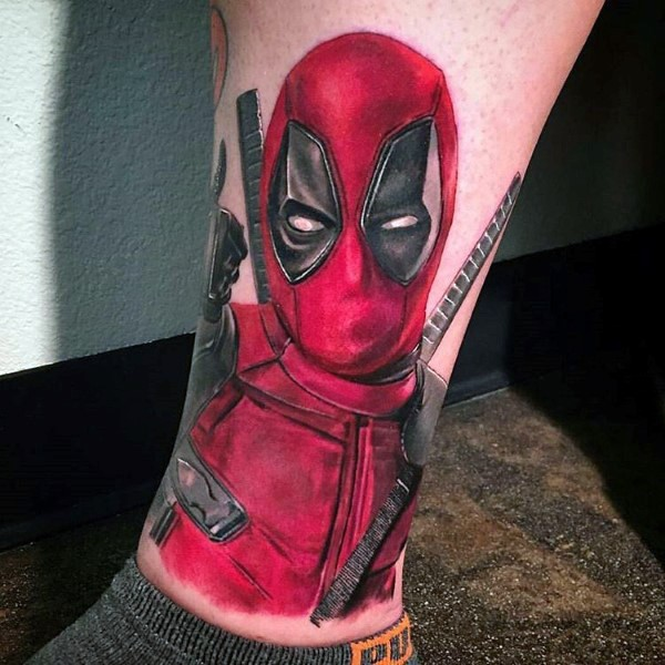 Breathtaking detailed lifelike ankle tattoo of evil Deadpool