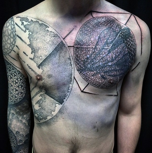 Brilliant massive 3D like geometric style tattoo on chest and sleeve