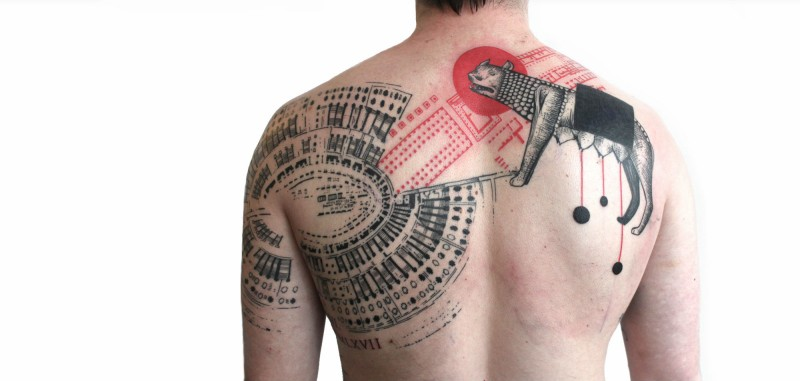 Bug colored photoshop style tattoo on shoulder and back