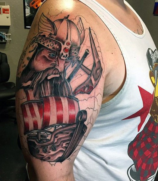 Cartoon style colored shoulder tattoo of viking with sailing ship
