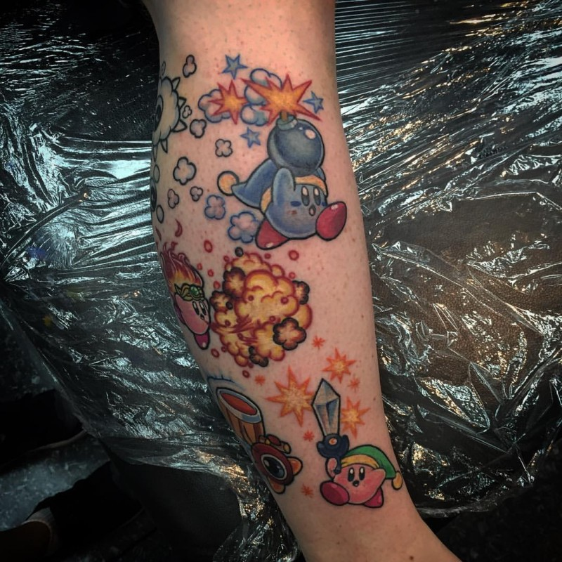 Cartoon style colored tattoo of funny creatures with stars