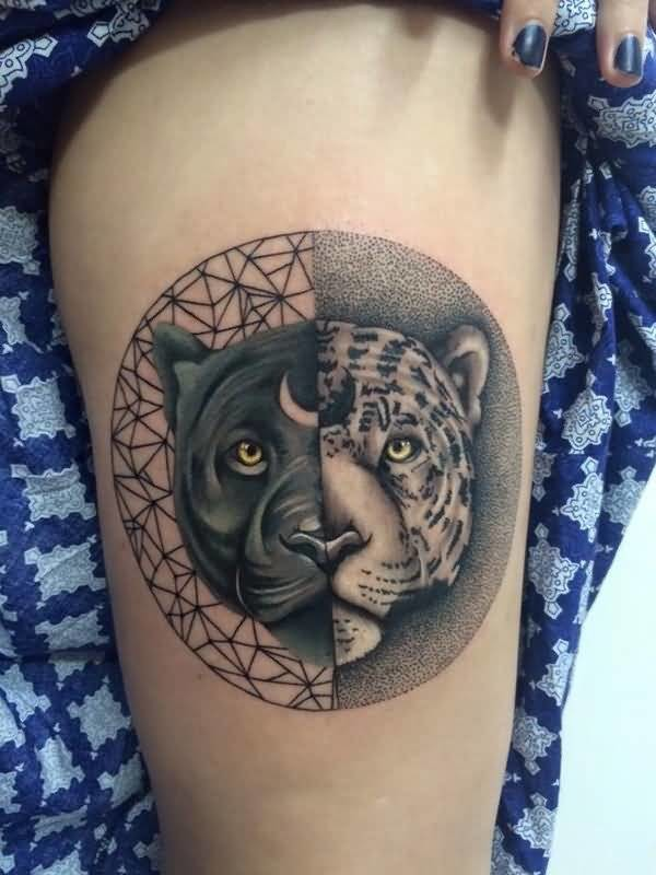 Circle shaped realistic looking tattoo of separated leopard head and black panther head