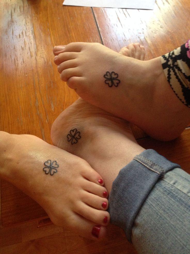 Clover irish friendship tattoos on legs