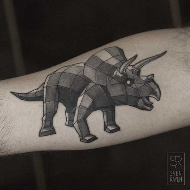 Colored 3D style arm tattoo of big dinosaur