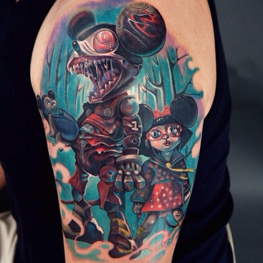 Colored cartoon style shoulder tattoo of creepy mouse