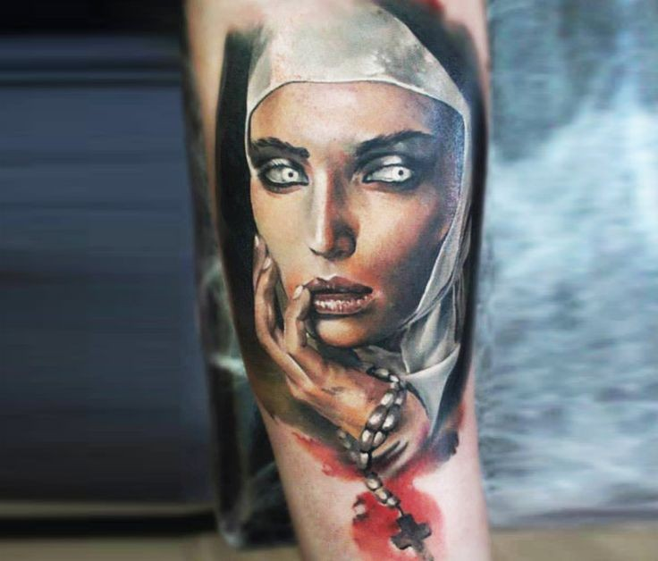 Colored creepy looking tattoo of creepy nurse with cross