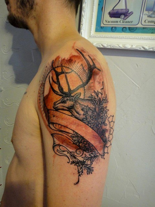 Colored engraving style shoulder tattoo of deer with plant and ribbons