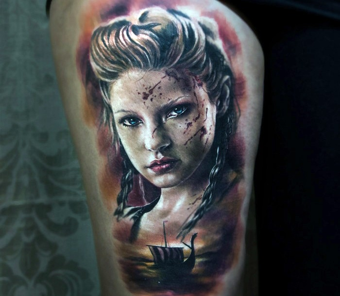 Colored horror style colored shoulder tattoo of woman face and viking ship