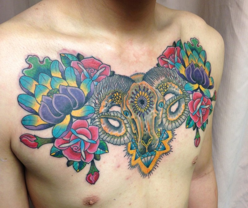 Colored ram tattoo with different flowers