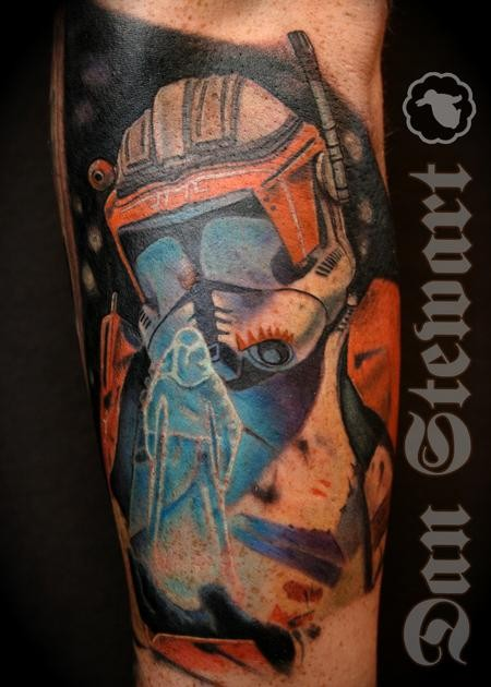 Colored Star Wars themed colored arm tattoo of trooper